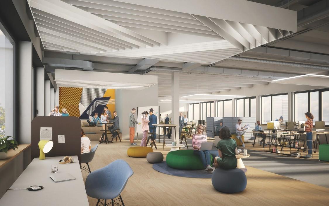 The Move Rendering Innenansicht eines flexiblen offenen Büros