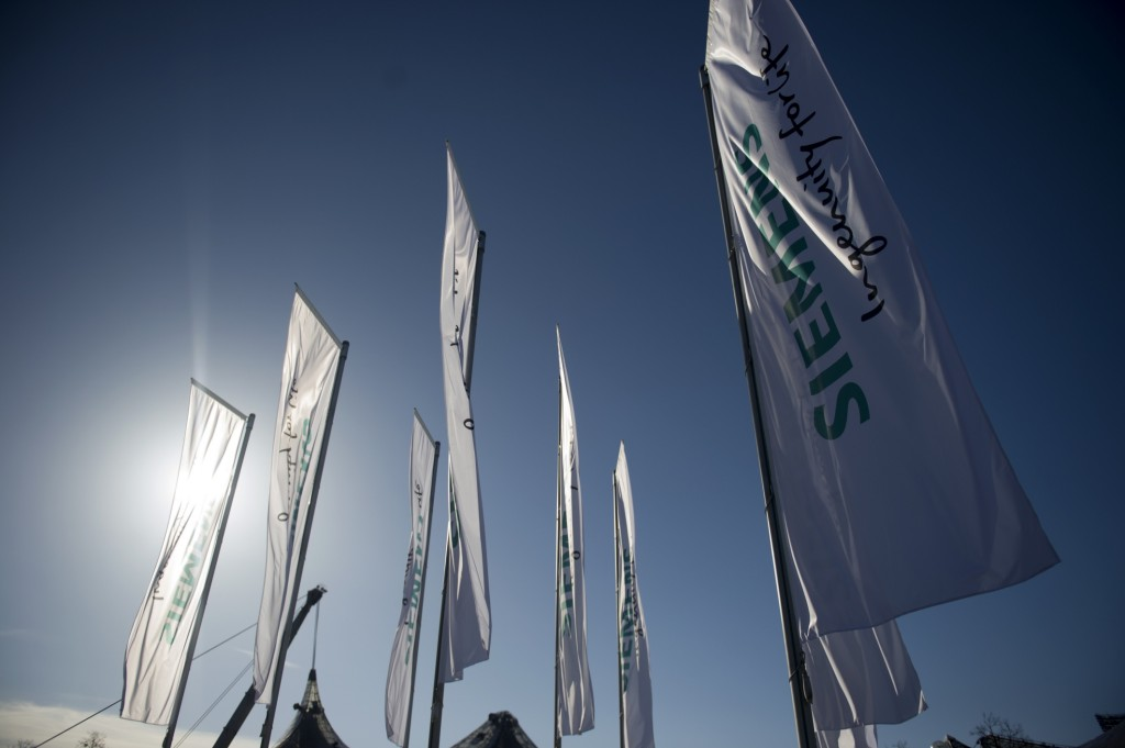 Siemens flags at the Annual Shareholders' Meeting