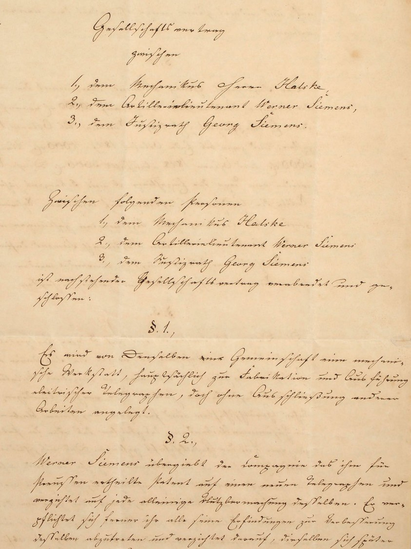 The company's legal cornerstone – The partnership agreement, 1847