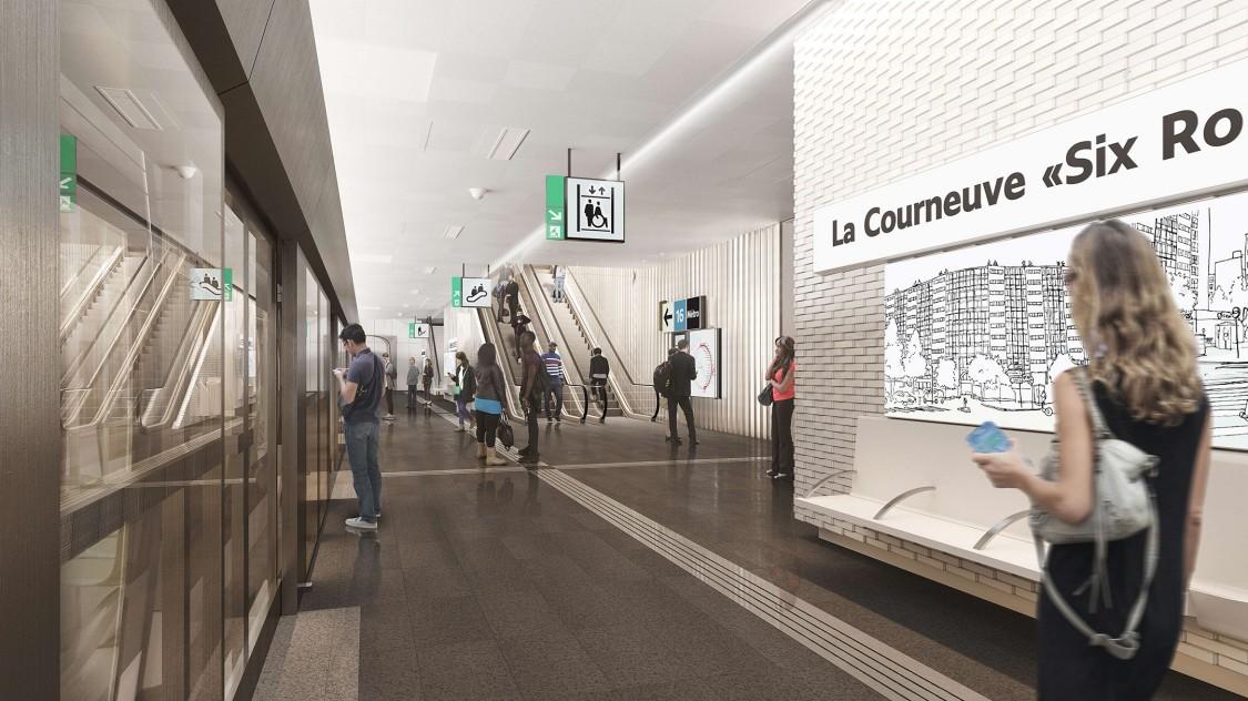 Perspective 3D de la station La Courneuve Six-Routes