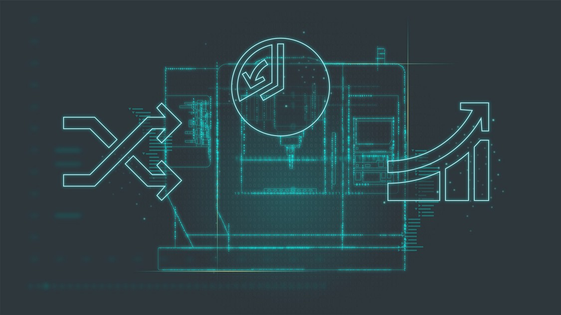 Grafik, die eine schnellere Produktivität von Werkzeugmaschinen zeigt.