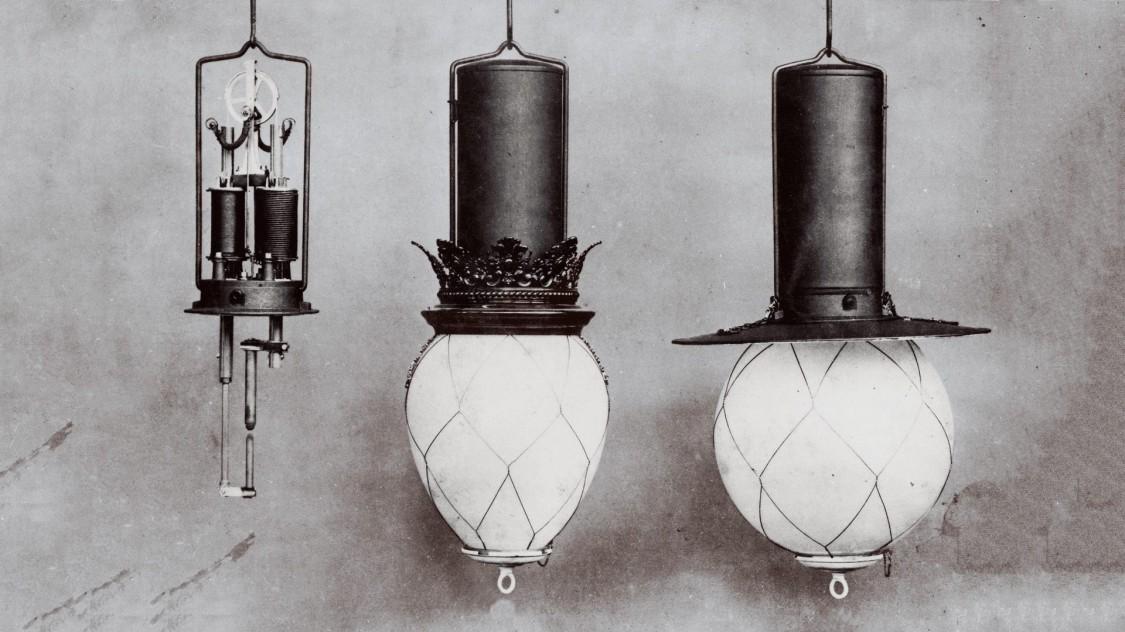 Дуговая лампа с дифференциальным регулятором, 1878 год