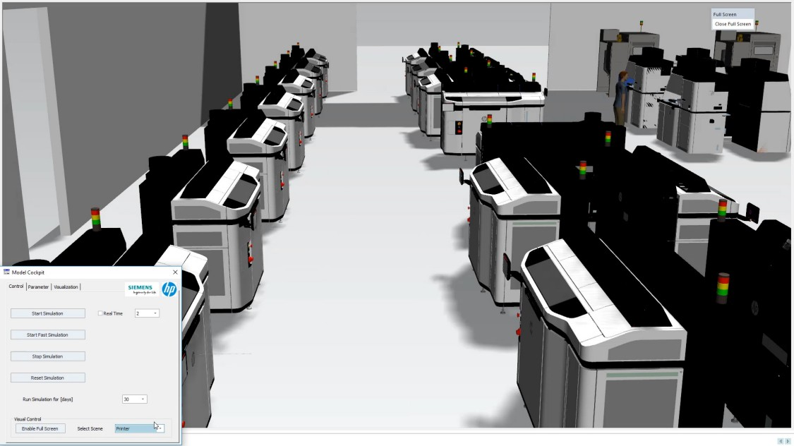 Mit Tecnomatix lässt sich ermitteln, wie viele Drucker wie in der Fabrik positioniert und von wie vielen Bedienern sie bedient werden sollten, um die gewünschte Stückzahl produzieren zu können (Copyright: Siemens)