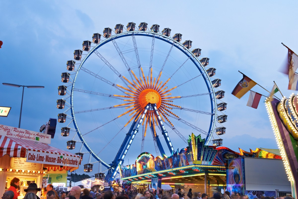 The picture shows the Oktoberfest's Giant Ferris Wheel.