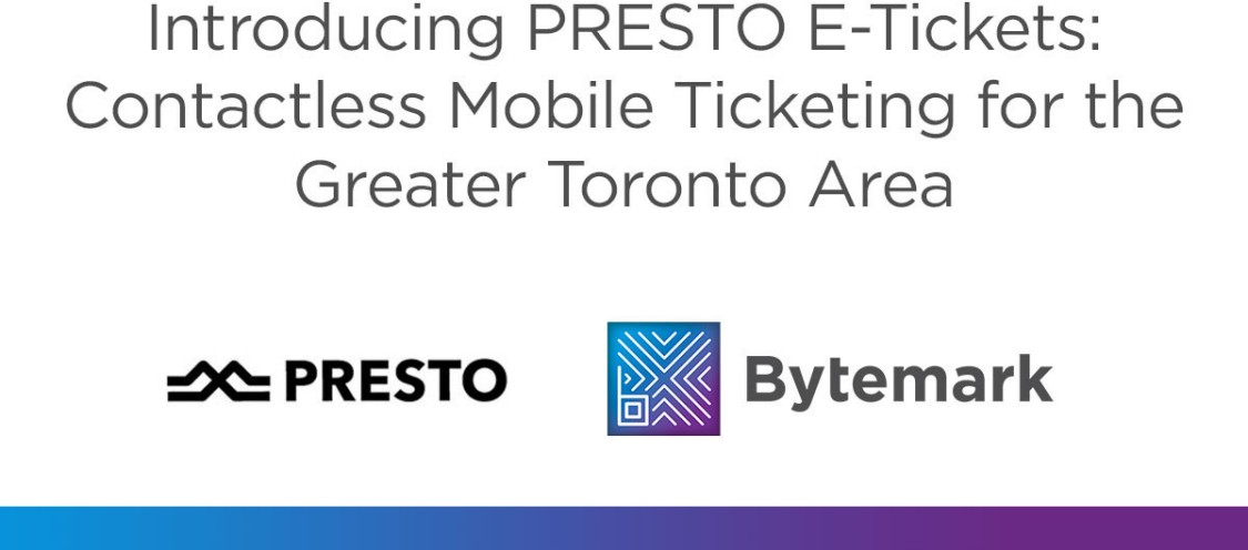 PRESTO introduces E-Tickets, Bytemark's mobile ticketing option, on local transit systems image with Presto and Bytemark logos
