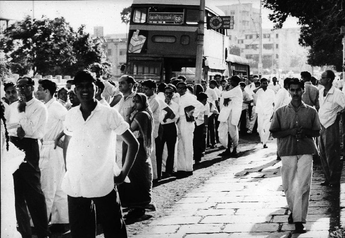 Employees gather at the end of work – The Worli production facility, 1965