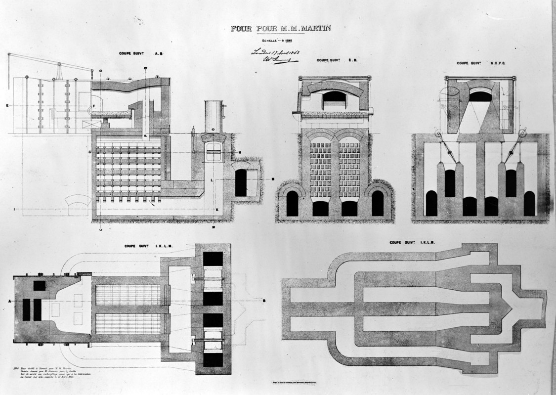 Drawing of the Siemens-Martin furnace, 1863