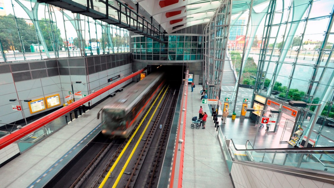 Metro station in Prague with arriving metro train