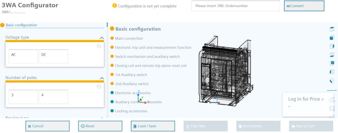 Graphical configurator 3WA air circuit breaker