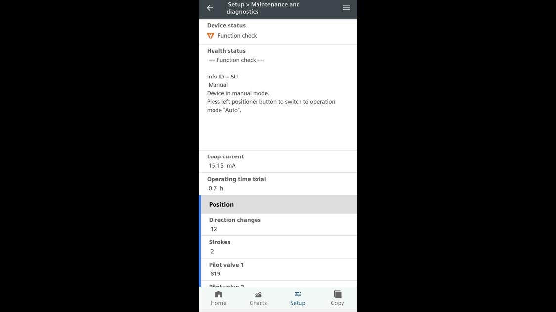 Screenshot SITRANS mobile IQ - Device status