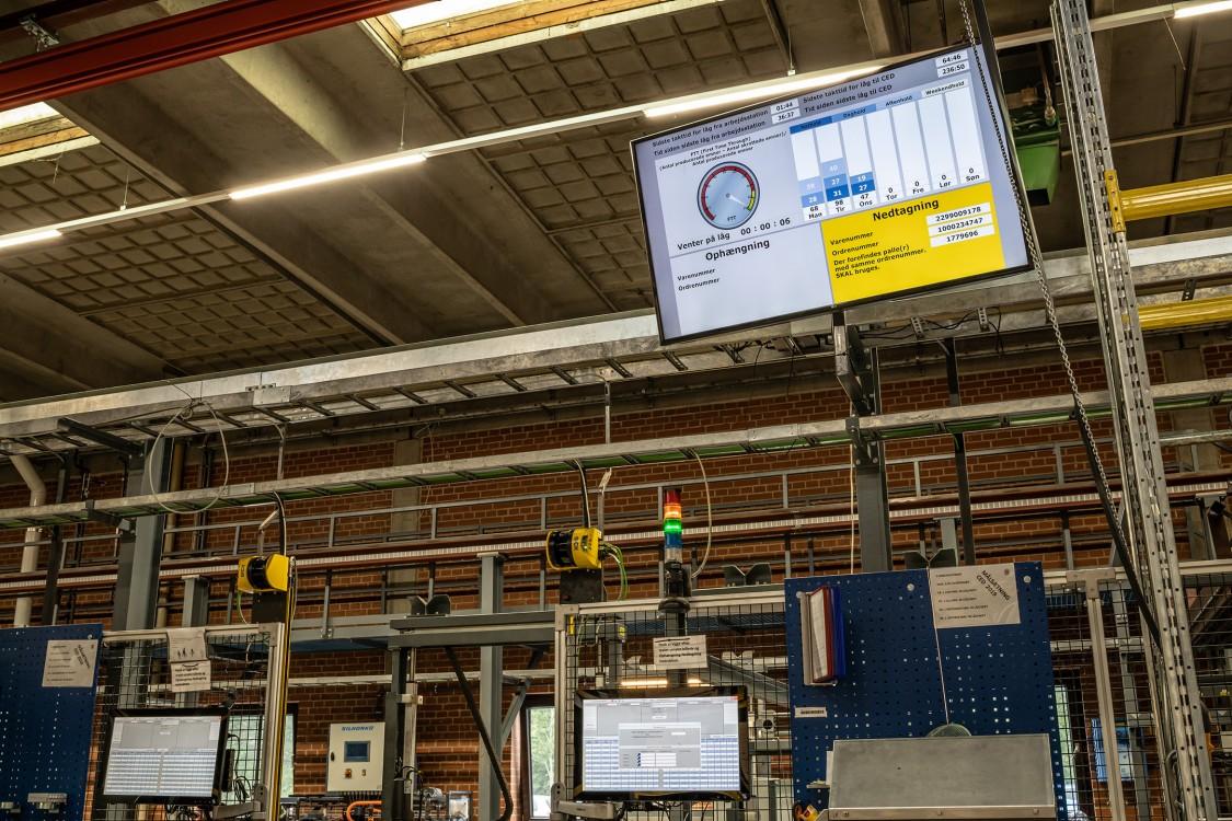 Store skærme på fabriksgulvet informerer operatørerne
