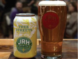 JRH Brewing beer can and beer glass
