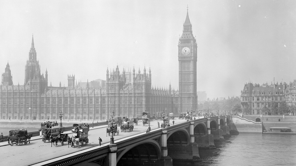 London, Westminster und Big Ben 1881
