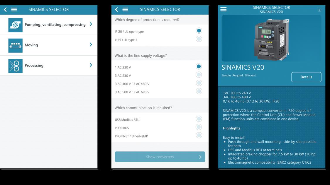 sinamics selector app screens