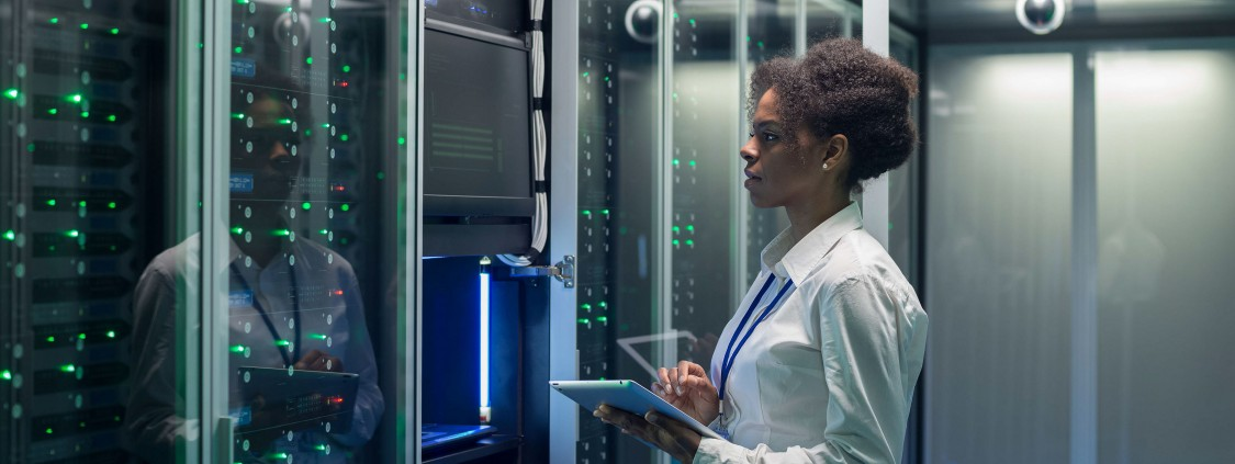 Woman in data center