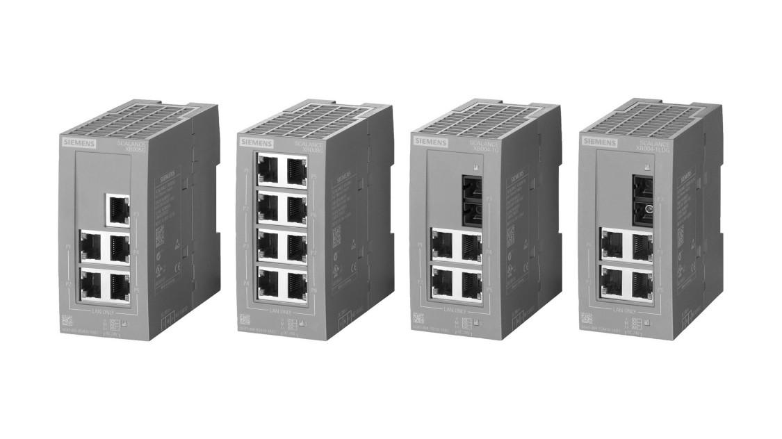 Bild der nebeneinander aufgereihten SCALANCE X-000 Industrial Ethernet Switches