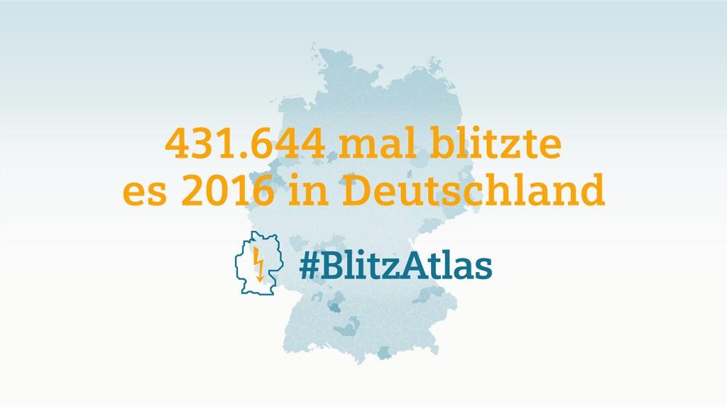 Siemens BlitzAtlas 2016: Gesamtzahl der Blitze in Deutschland