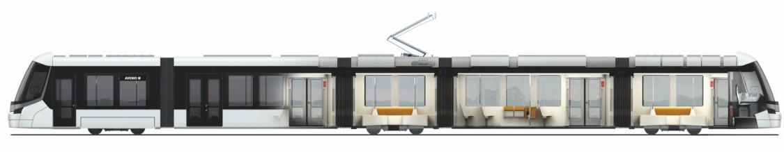 Wieloprzegubowy tramwaj Avenio M - widok z boku