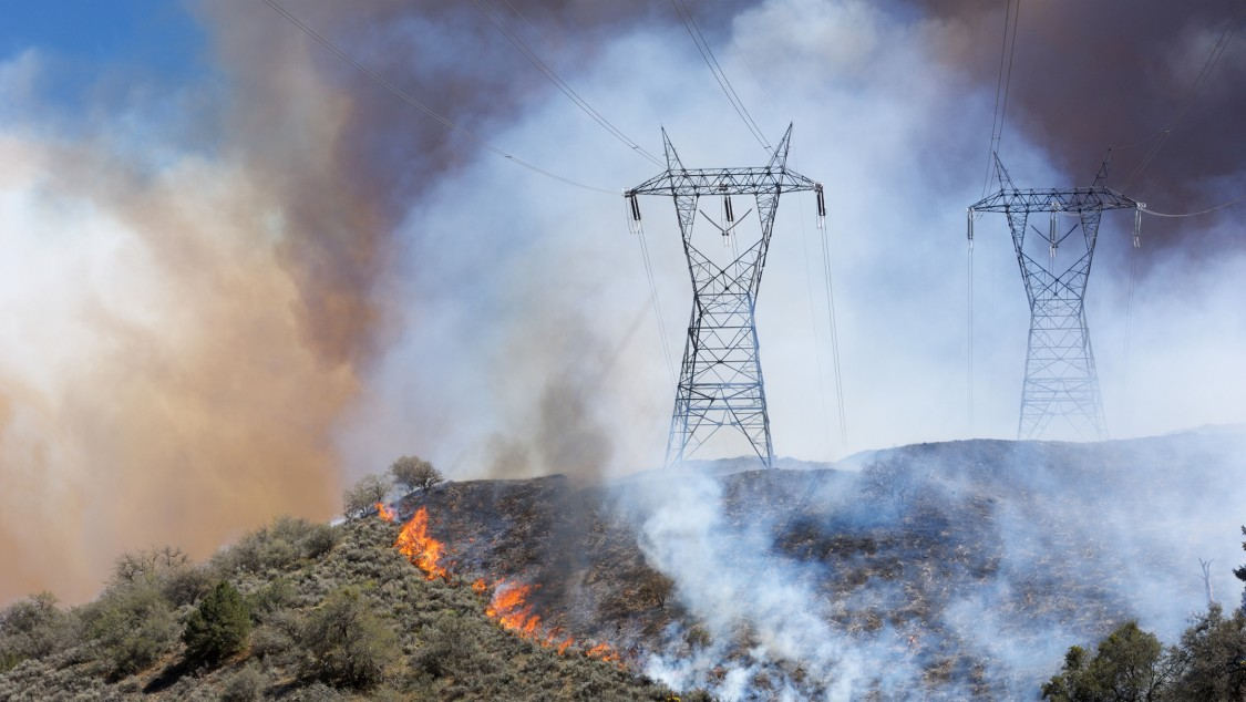 Landscape images of wildfires impacting homes and business