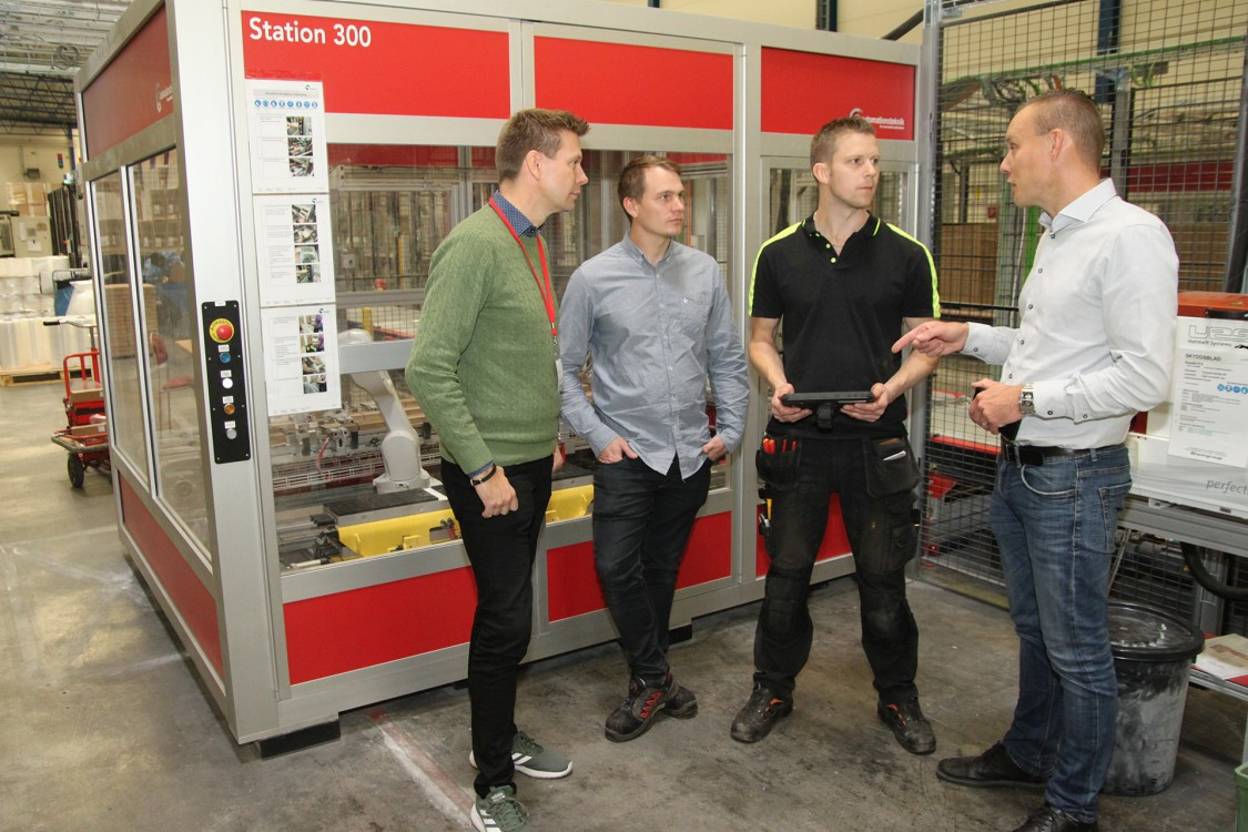 Magnus Åberg, försäljningsingenjör på Siemens, Håkan Marke, automationsingenjör på Automationsteknik, Daniel Hjärtfors, underhållsansvarig på Spaljisten, och Henrik Fredman, projektledare på Automationsteknik.