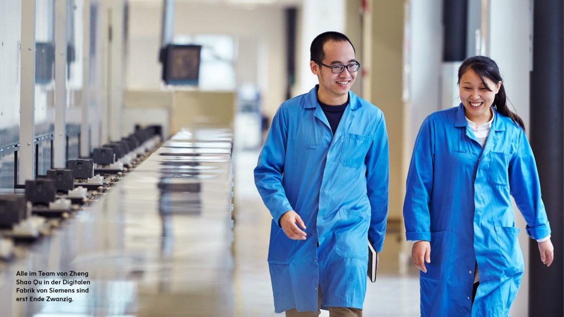Alle im Team von Zheng Shao Qu in der Digitalen Fabrik von Siemens sind erst Ende Zwanzig