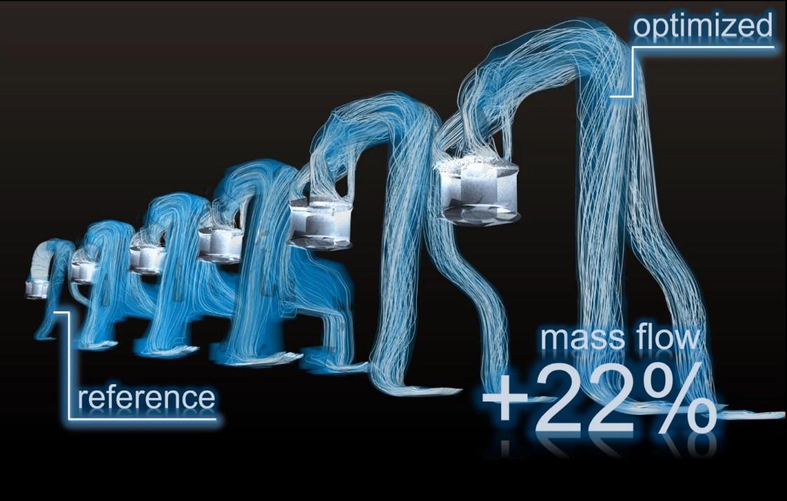 Virtual simulation achieved a 22 percent improvement in mass flow (Copyright: Siemens)