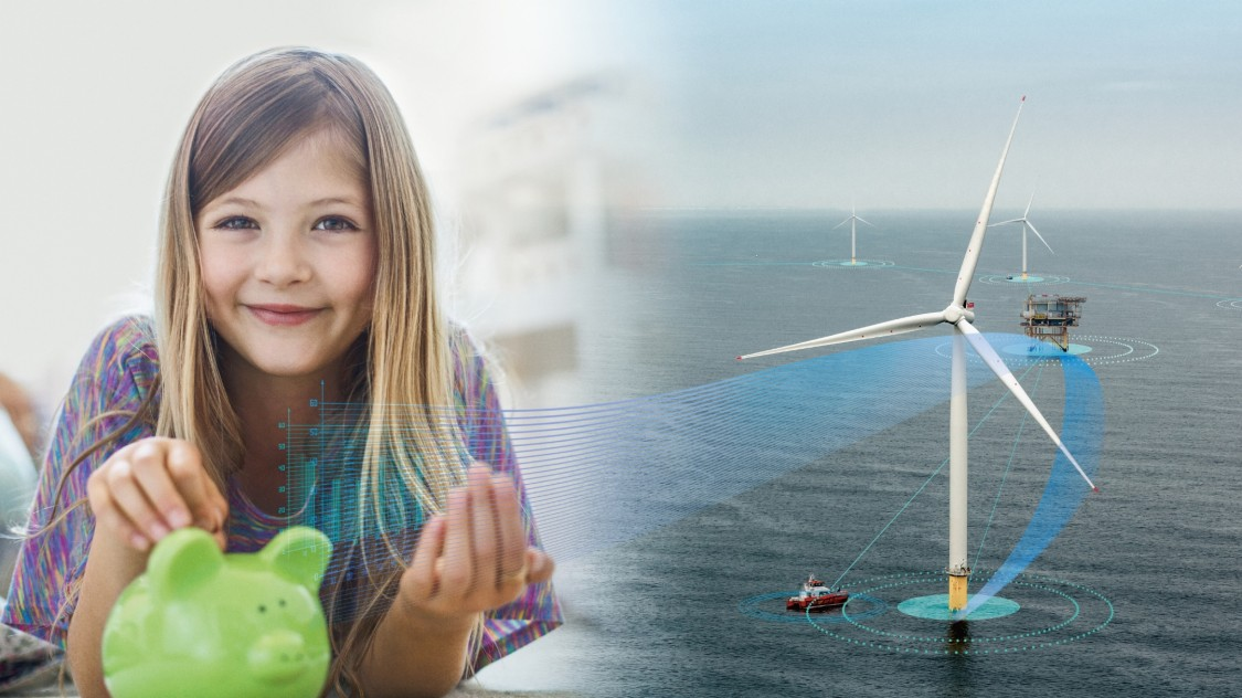 Girl with offshore wind turbine