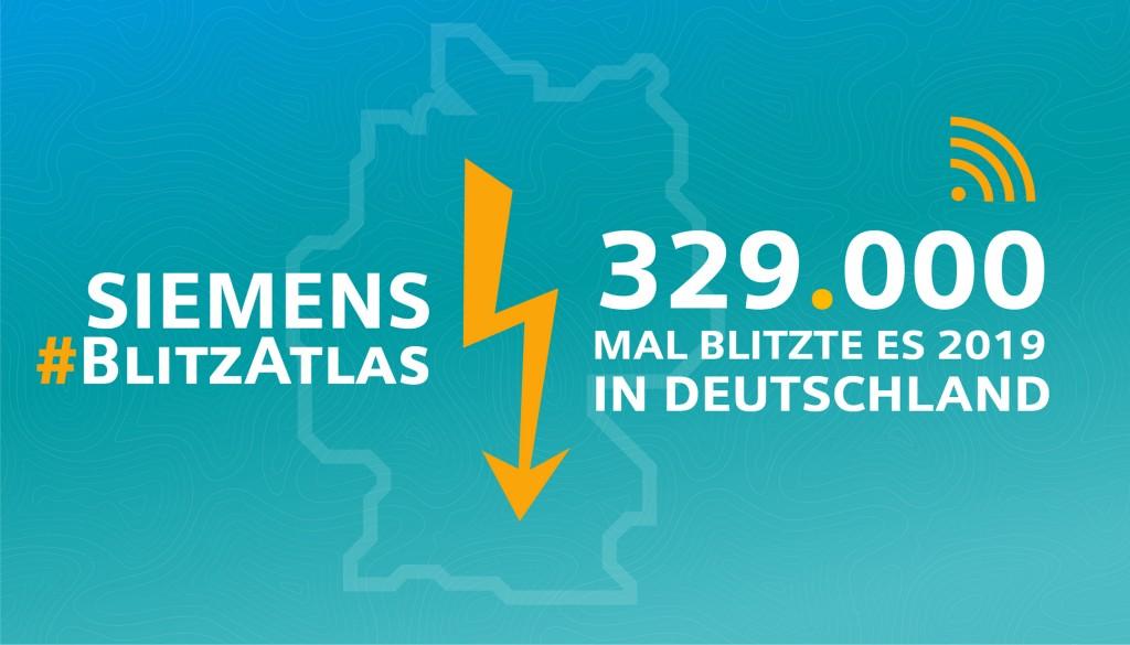 Siemens Blitz-Atlas 2019: Gesamtzahl der Blitze in Deutschland