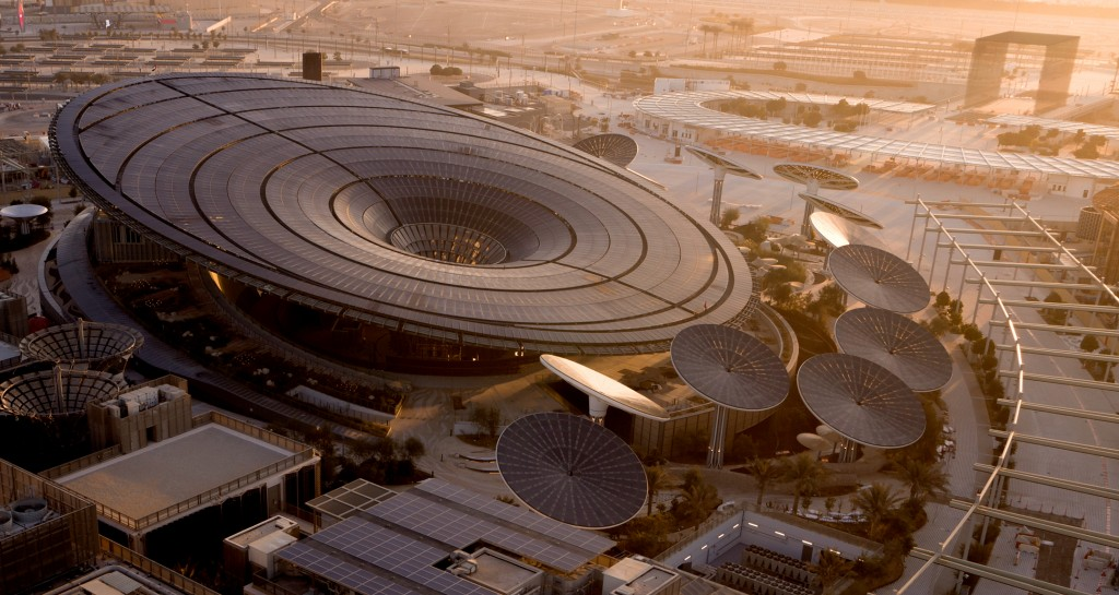 Aerial view of the Sustainability Pavilion at Expo 2020 Dubai