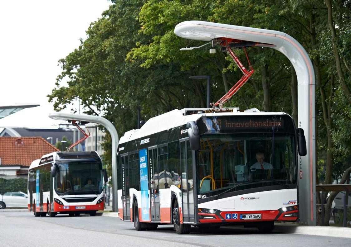 Elektriske busser i drift i Hamborg
