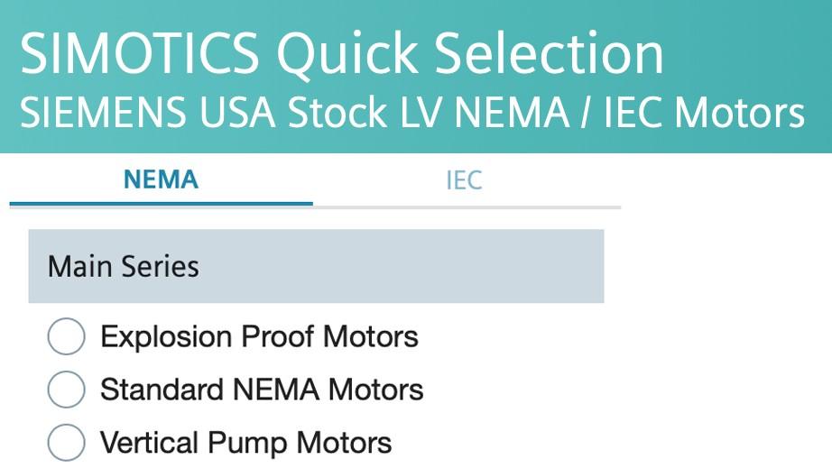 nema motors - quick select