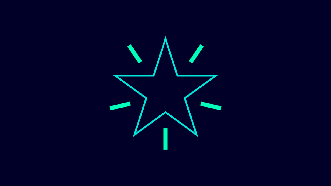 Graphic symbol for ingenuity: a white star on a blue background accentuated with green lines.