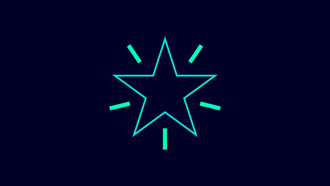 Grafisches Symbol für Innovationsgeist: ein weißer Stern auf blauem Grund akzentuiert mit grünen Linien.