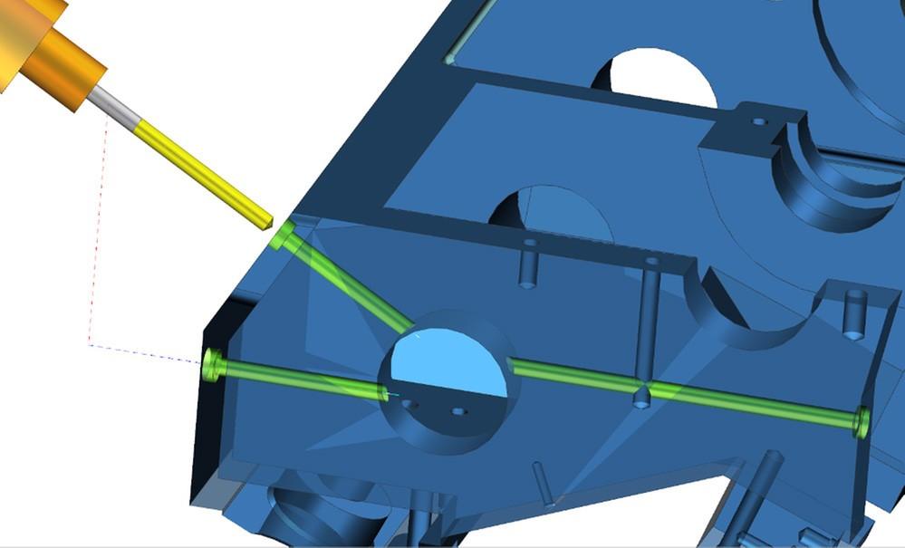Funktionen för borrning av djupa hål (pipborrning) i NX CAM 11 känner automatiskt av korsande hål för att korta cykeltiden.