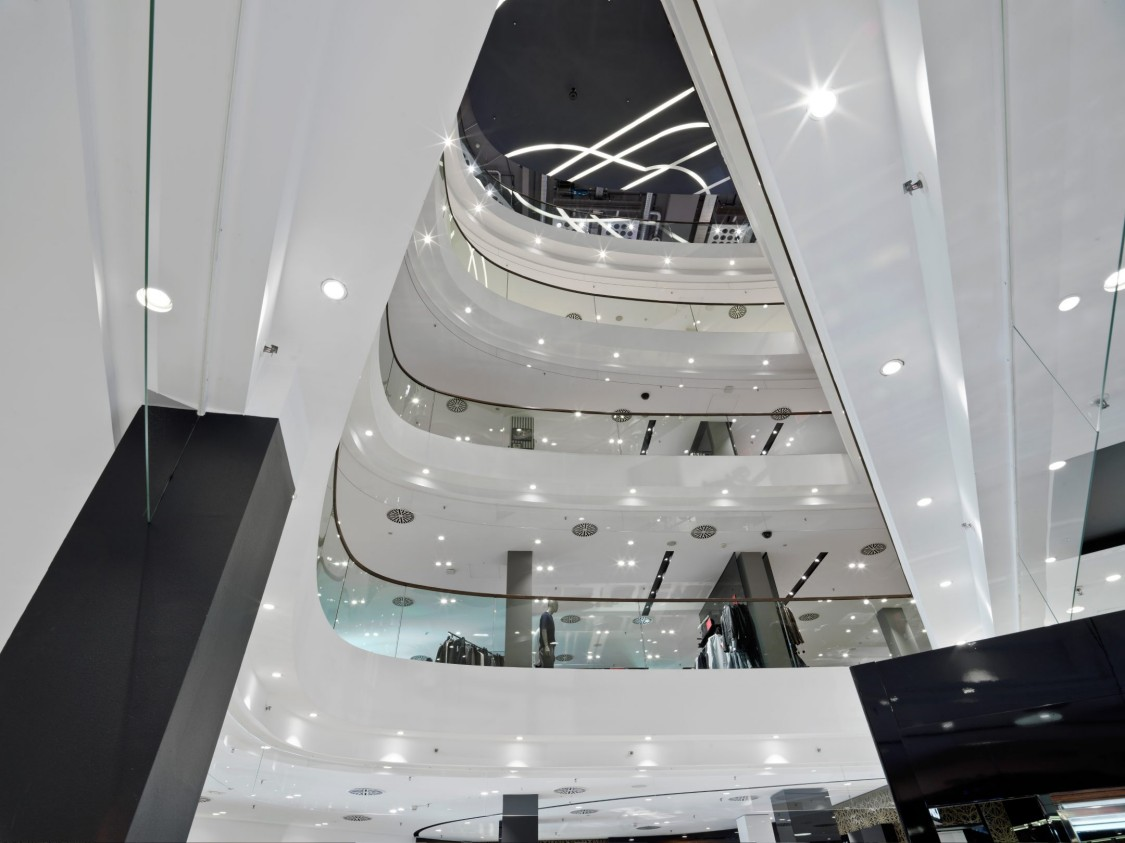 View from the ground floor to the upper stories of the Jelmoli Department Store in Zurich.