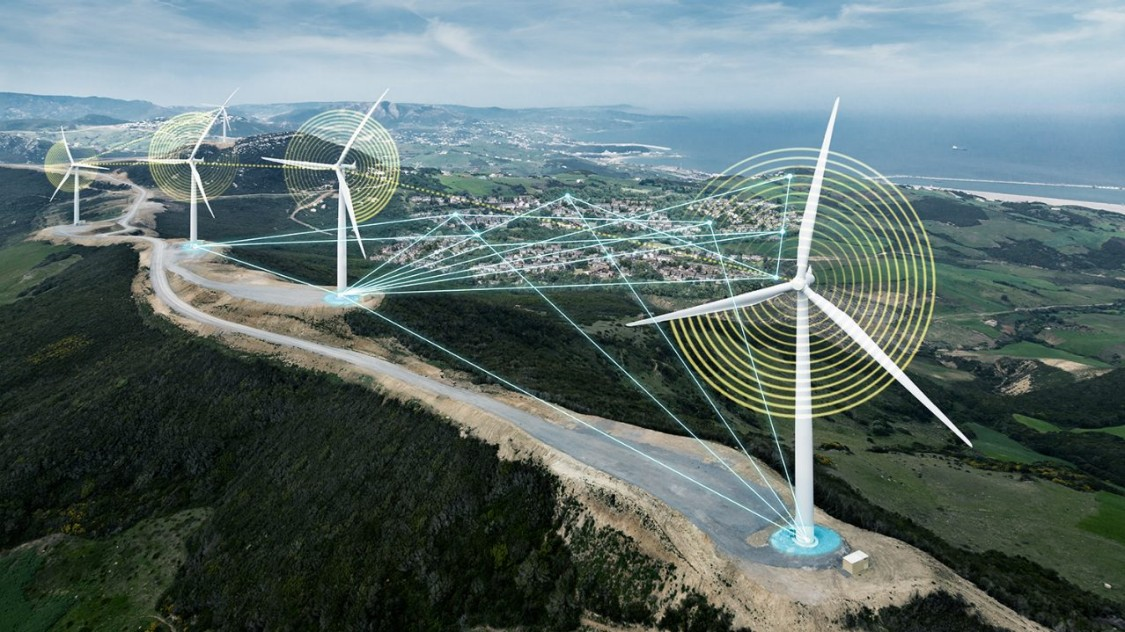Aerial view of wind power plants on the Haouma wind farm in Morocco