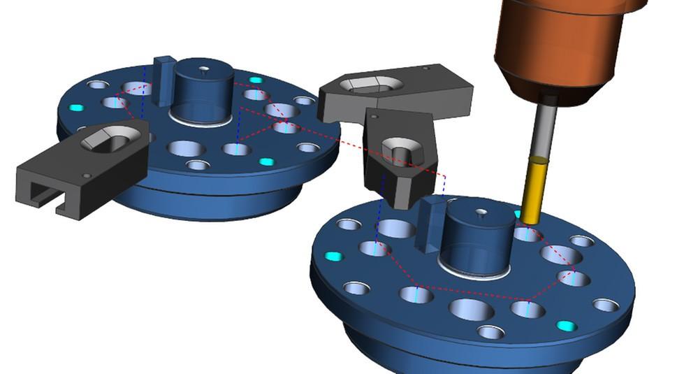 NX CAM 11 optimerar borrsekvenser över hålgrupper för att minimera transporten mellan hålen samt ge en säker verktygsbana.