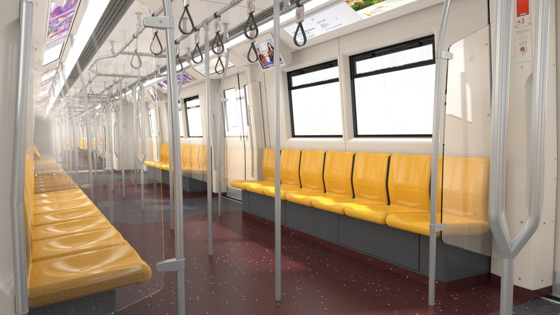 Bangkok Green Line metro train interior design of the seating area