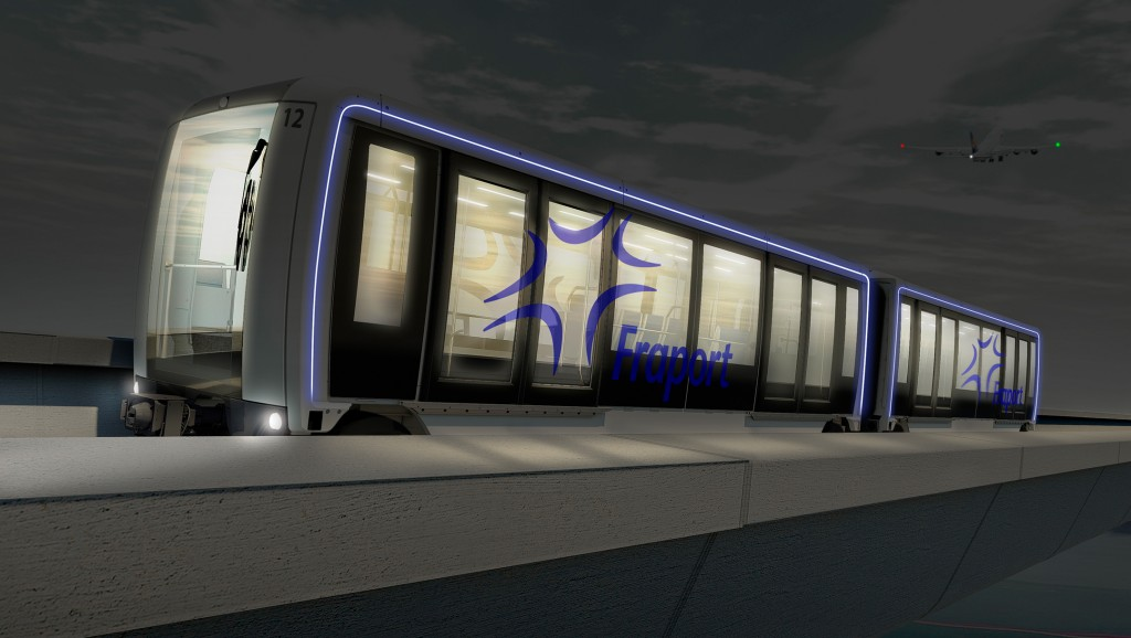 The picture shows the fully automated Airval people mover for the Frankfurt Airport.