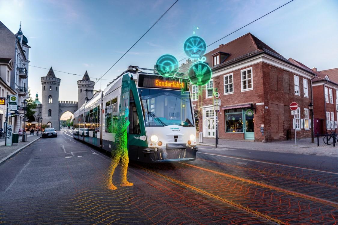 Eine intelligente, autonome Straßenbahn, in einer Stadt, demonstriert diesen Trend der Mobilität hin zum automatisierten Fahren