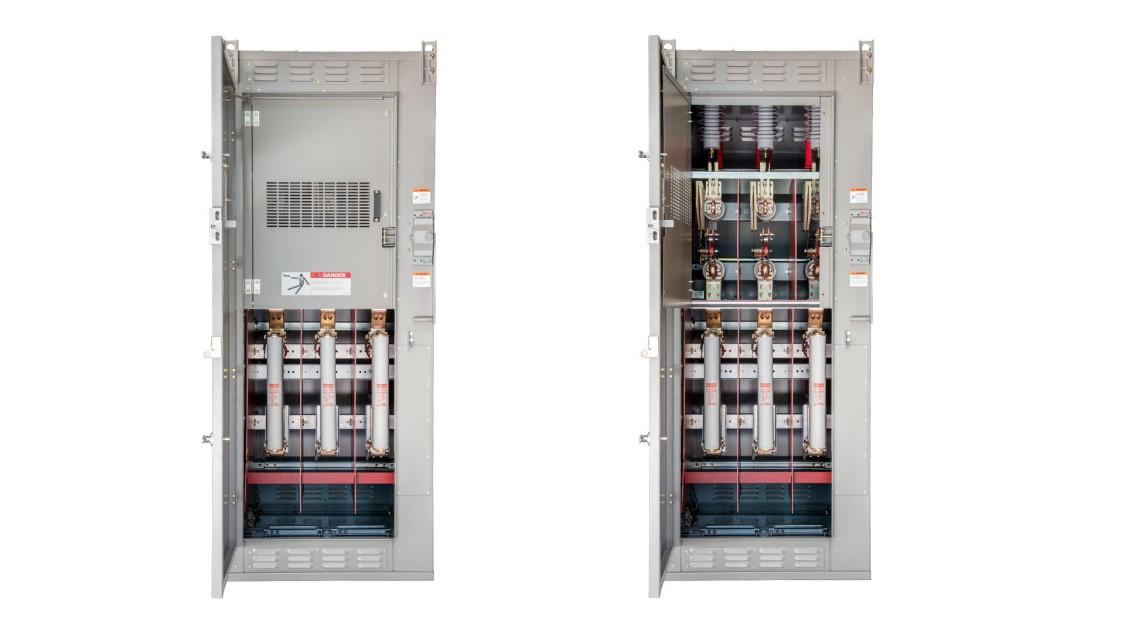 SIEBREAK metal-enclosed interrupter switchgear with the doors open