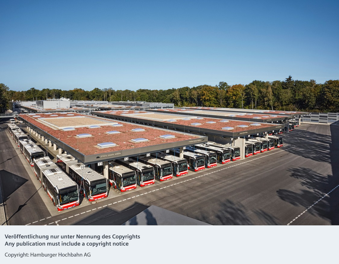 Aerial view of a bus depot of the Hamburg public transport operator Hochbahn AG