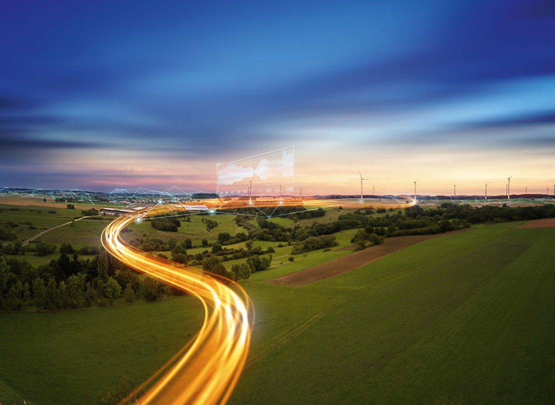 Landscape scenery with energy flow on it