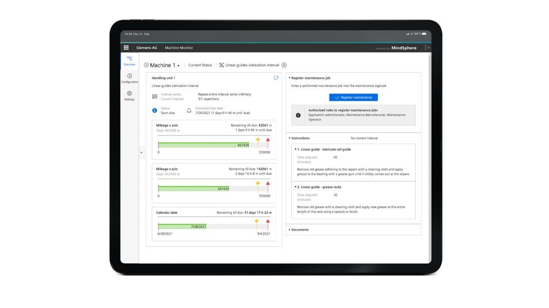 Beispiel einer Benutzeroberfläche der App Machine Monitor auf einem Tablet