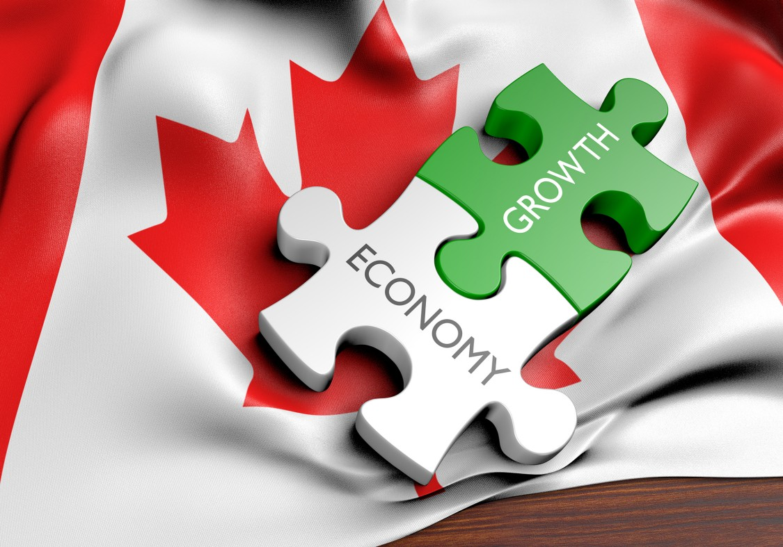 Canadian flag with economy and growth shown as puzzle pieces