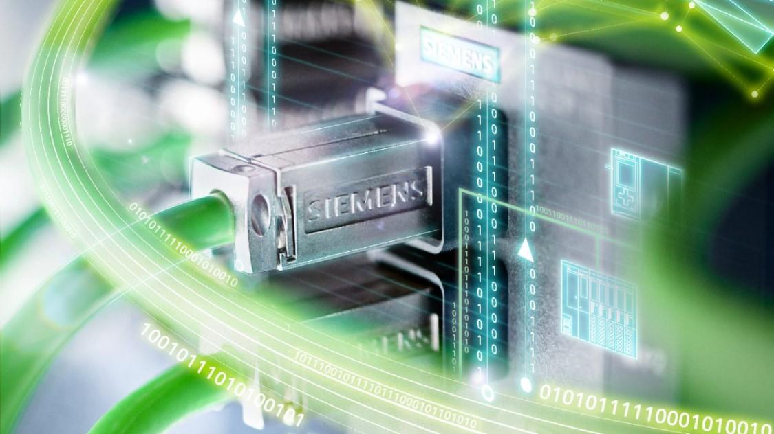 imagem de cabo verde de rede da siemens representando as soluções de automação via profinet