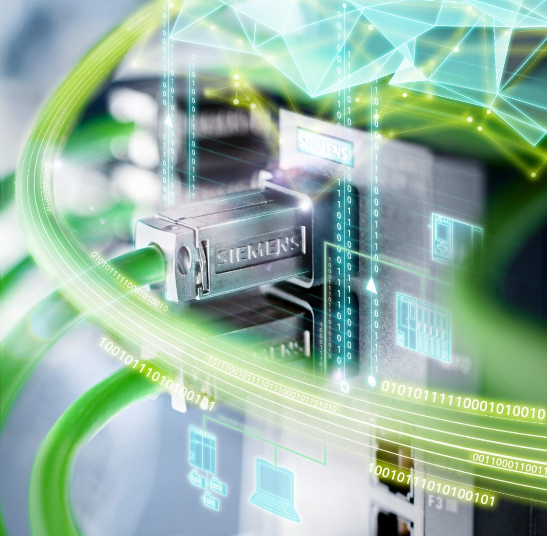 Close-up of green PROFINET cables. Some of them are plugged into hardware. The setting is  dramatized with a blurry green layer which visualizes the ubiquitous digitalization.