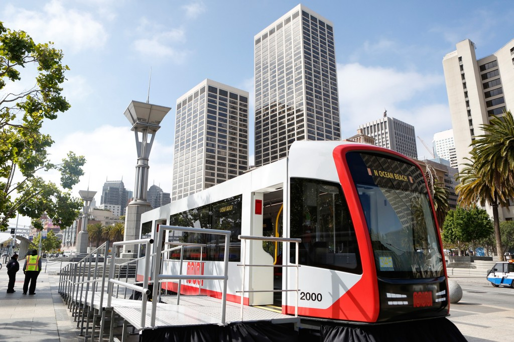 Full-scale LRV model along San Francisco's iconic Embarcadero