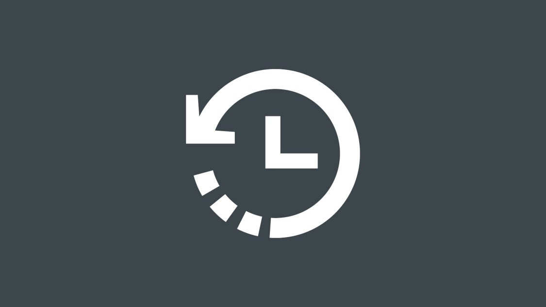 Icon for saving time with SINEC INS: a clock with an arrow pointing counter-clockwise.