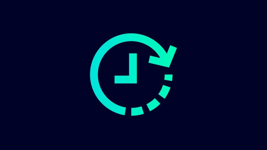 Icon zur Zeitersparnis mit SINEC INS: eine Uhr mit einem Pfeil entgegen des Uhrzeigersinns.